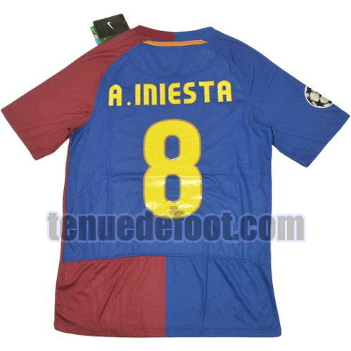 maillot a.iniesta 8 fc barcelone 2008-2009 domicile rouge bleu