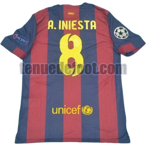 maillot a.iniesta 8 fc barcelone 2014-2015 domicile rouge bleu