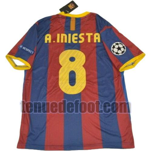 maillot a.iniesta 8 fc barcelone ucl 2010-2011 domicile rouge bleu
