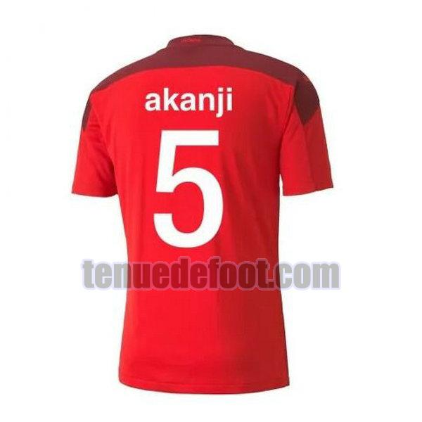maillot akanji 5 suisse 2020-2021 domicile rouge rouge