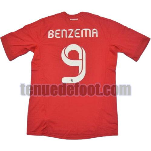 maillot benzema 9 real madrid 2011-2012 troisième rouge