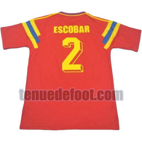 maillot escobar 2 colombie 1990 domicile rouge
