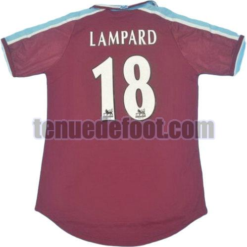 maillot lampard 18 west ham united 1999-2001 domicile rouge