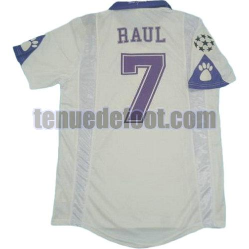 maillot raul 7 real madrid 1997-1998 domicile blanc