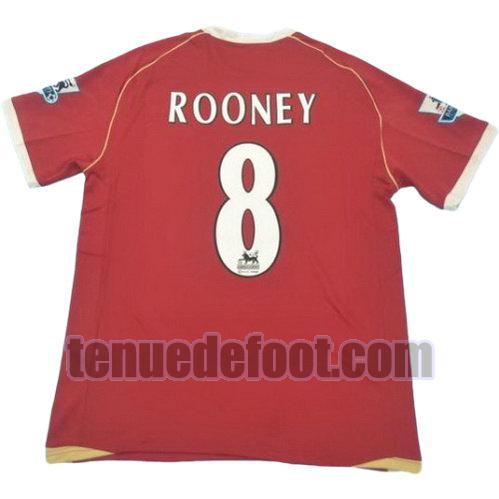 maillot rooney 8 manchester united 2005-2006 domicile rouge