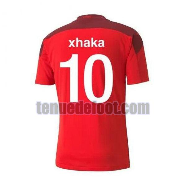 maillot xhaka 10 suisse 2020-2021 domicile rouge rouge
