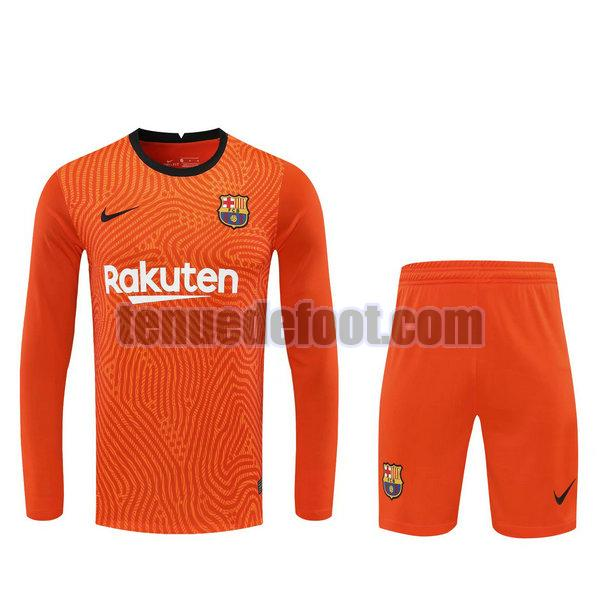 maillots+shorts barcelone 2021 gardien orange manches longues orange